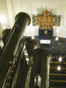 2014 Blick von Dach der Orgel Tuba Petri und Altar